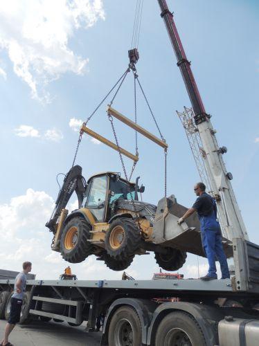 Loading equipment on semitrailer